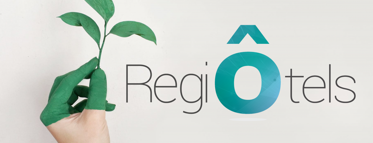 RegiÔtels logo next to a hand holding a branch with leaves
