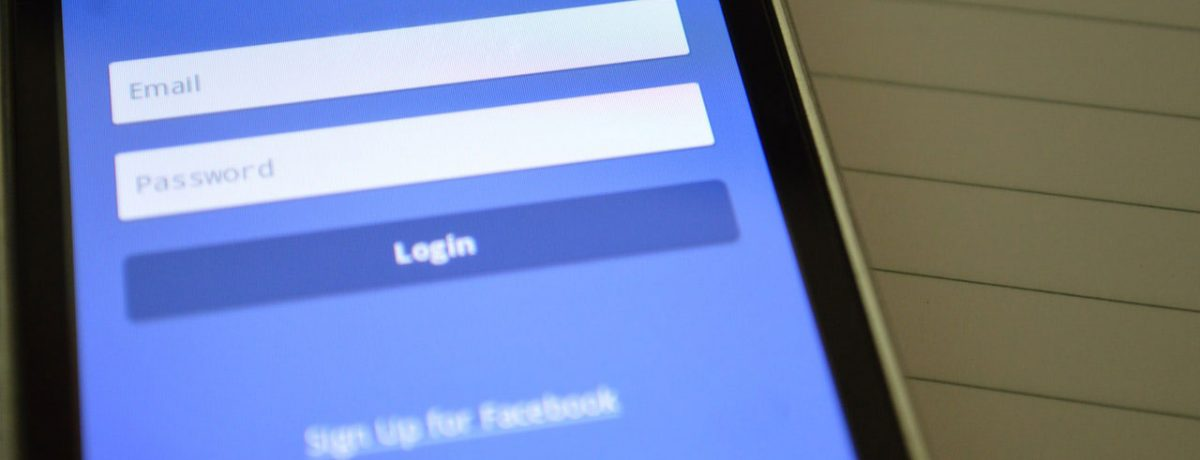 Facebook login page on a smartphone