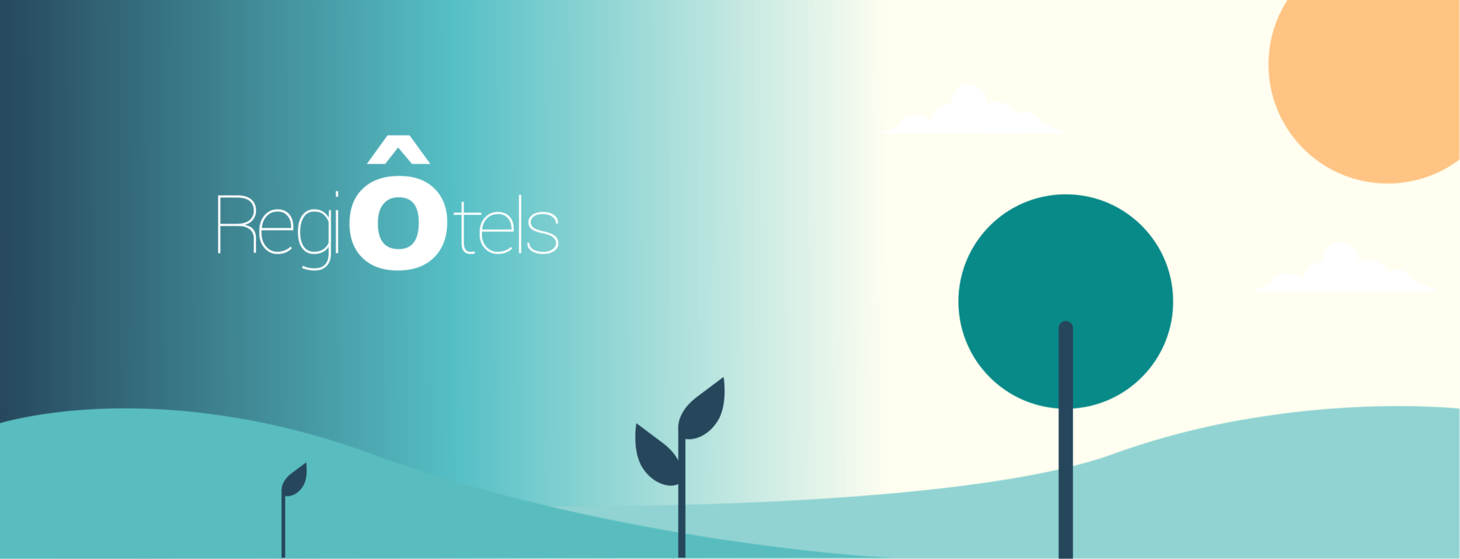 Illustration of a minimalist landscape with RegiÔtels' logo