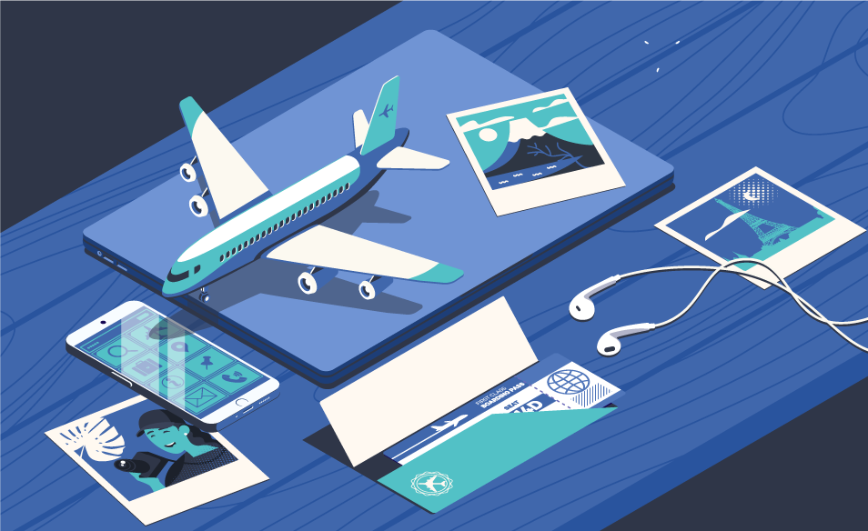 Illustration of travel symbols such as a plane, photos, a plane ticket, and headphones